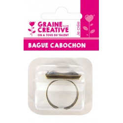 SQUARE RING 20MM WITH GLASS GEM BRONZE - BLISTER CARD GRAINE CREATIVE
