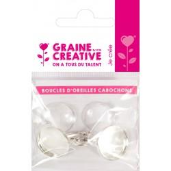 1 EARRING BEZEL SILVER 19.6MM + 2 GLASS GEMS - OPP BAG BACKING CARD GRAINE CREAT