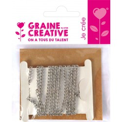 IRON CHAIN SILVER 1M 4X2MM - 1METER WINDED ON CARD- OPP BAG GRAINE CREATIVE