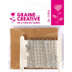 IRON CHAIN SILVER 1M 5X3MM - 1METER WINDED ON CARD- OPP BAG GRAINE CREA