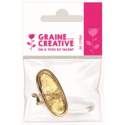 OVAL RING + GLASS CABOCHON ANTIQUE GOLD COLOR 16X39mm- OPP BAG GRAINE CREATIVE