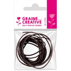 2 BROWN LEATHER-STYLE LACES - 1 M (DIAM 1.5 mm)