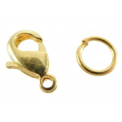 Lobster-claw clasps with rings 12mm - Gold (4 pcs)