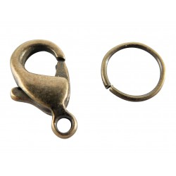 Lobster-claw clasps with rings 12mm - Bronze (4 pcs)