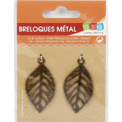 BAG OF 2 METAL CHARMS : LEAVES