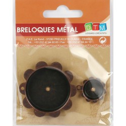 BAG OF 2 METAL CHARMS : MEDALLION IN FLOWER SHAPED