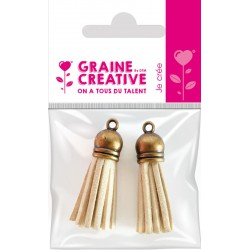 SET OF 2 TASSELS BRONZE- WHITE 4CM