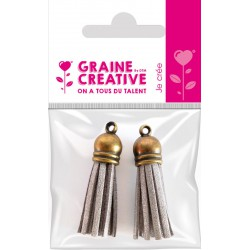 SET OF 2 TASSELS BRONZE- SILVER 4CM