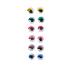 Wiggle eyes with lashes 6mm - Assort. colors (24 pcs)
