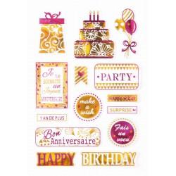 Stickers gel metallic - Celebration