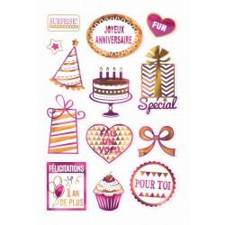 Stickers gel metallic - Birthday