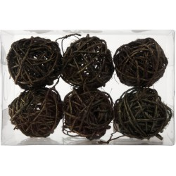 6 BROWN SISAL BALLS 50mm
