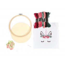 Embroidered hoop set Ø155mm - Unicorn