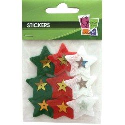 PK OF 9 ASSTD COLOURED FELT CHRISTMAS STARS