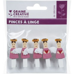 SET OF 5 CLOTHESPINS ANGEL H 52mm