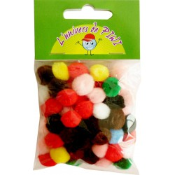 65 POMPONS ASSORTED 10mm