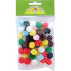 50 POMPONS ASSORTED 15mm