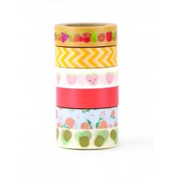 Deco tape 15mm x 10m - Summer fruit (6 pcs)