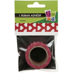 1 ADHESIVE TAPE HEARTS ON RED 15mmx10m
