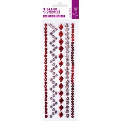 5 RED ADHESIVE SEQUINS STRIPES 200mm