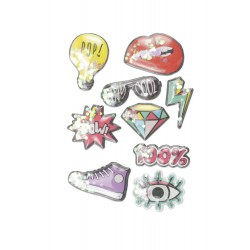 Stickers 3D effect 50mm - Puffy vintage (9 pcs