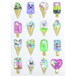 Stickers 3D effect 30mm - Puffy glaces (16 pcs