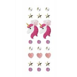 Stickers 3D effect 40mm - Unicorn (23 pcs)