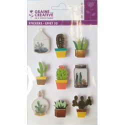 9 STICKERS CACTUS 3D EFFECT 40mm