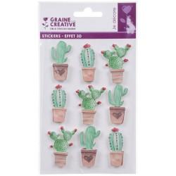 Stickers 3D effect 45mm - Cactus (9 pcs)