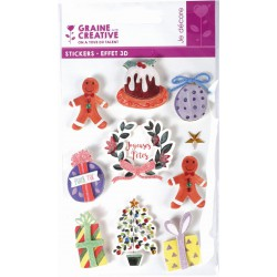 10 STICKERS CHRISTMAS DECORATION 3D EFFECT 50mm