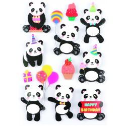 Stickers 3D effect 40mm - Panda (11 pcs)