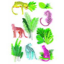 Stickers 3D effect 50mm - Panther (9 pcs)