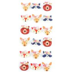 Mini stickers 3D effect 20mm - Animals (18 pcs)