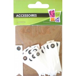 20 EYELET TAGS WHITE 50x12mm
