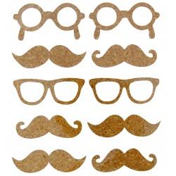 Cork stickers - Moustache (10 pcs)
