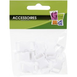 10 PLASTIC CLIPS WHITE 10mm/30x15mm