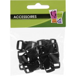 10 PLASTIC CLIPS BLACK 10mm/30x15mm