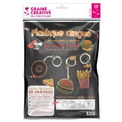 SCHRINKING PLASTIC KIT  KEYRINGS JUNK FOOD