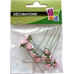 PACK OF  10 MINI PALE PINK ROSES