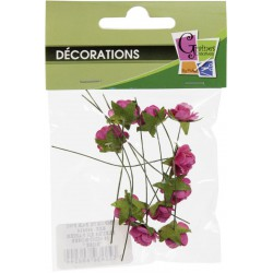 PACK OF  10 MINI BRIGHT PINK ROSES