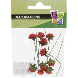 PACK OF  10 MINI RED ROSES