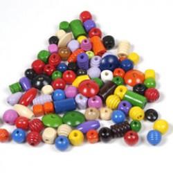 Wooden beads mixed size shape 1kos