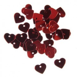 Pailletten hart 2gr rood