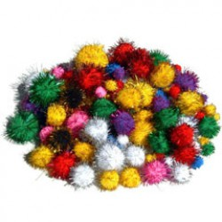 Pompons metalic 100pcs ass