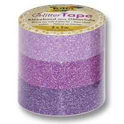 Glittertape 5m P/3 roze/pink/lila