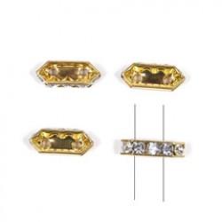 Strass zeshoek 10mmx5mm goud