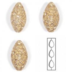 Kralen 30x17 kris/goud