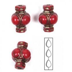 Kralen 14x11 rood/goud