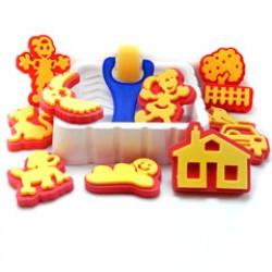 Kinderstempels P/11+mouse roller+verfbak