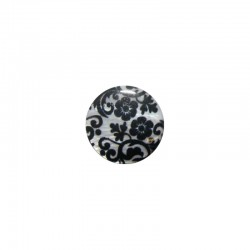 Shell cabochon 16mm printed flowers black + white x6pcs